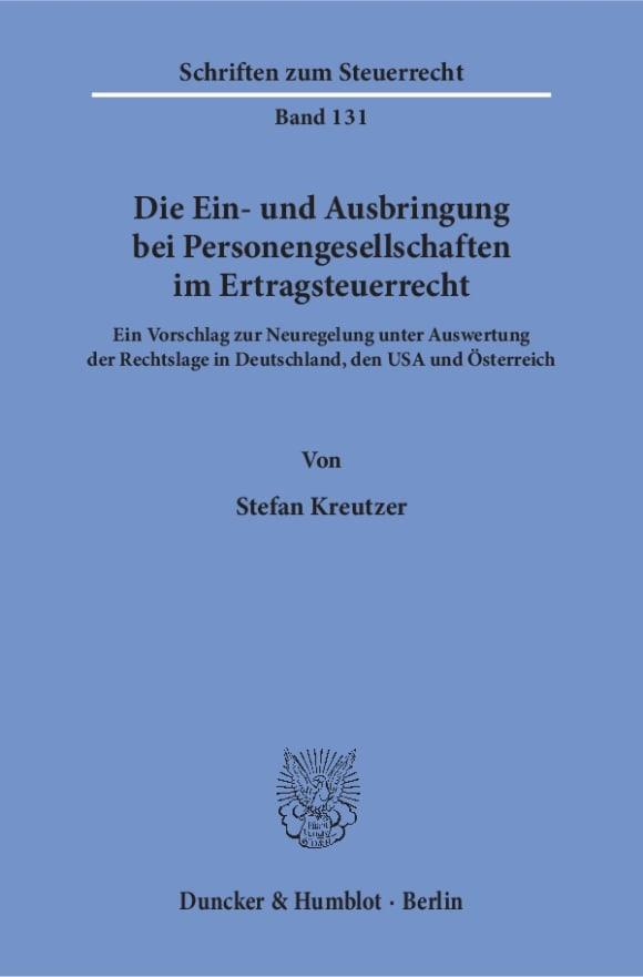 Cover Die Ein- und Ausbringung bei Personengesellschaften im Ertragsteuerrecht