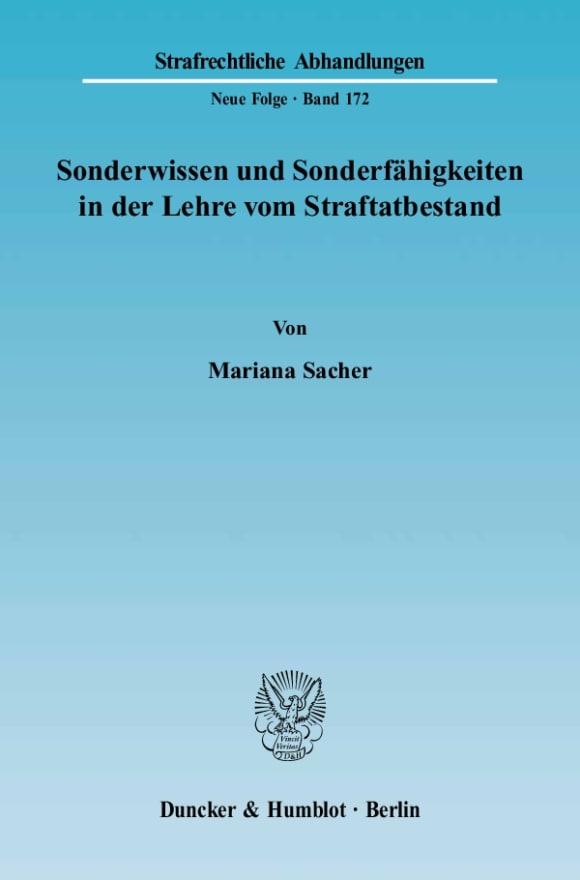 Cover Sonderwissen und Sonderfähigkeiten in der Lehre vom Straftatbestand