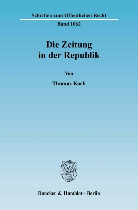 Cover Die Zeitung in der Republik