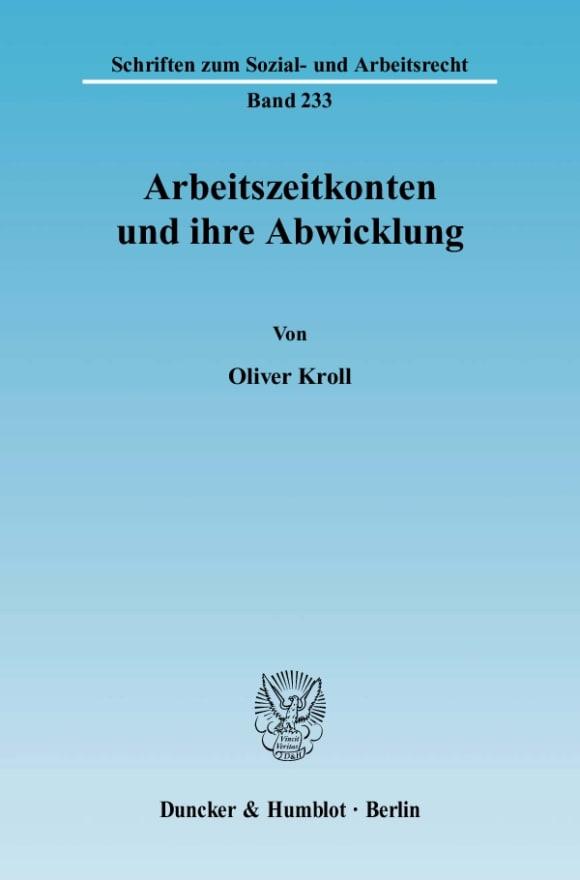 Cover Arbeitszeitkonten und ihre Abwicklung