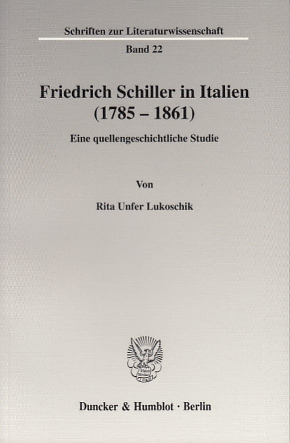 Cover Friedrich Schiller in Italien (1785 - 1861)