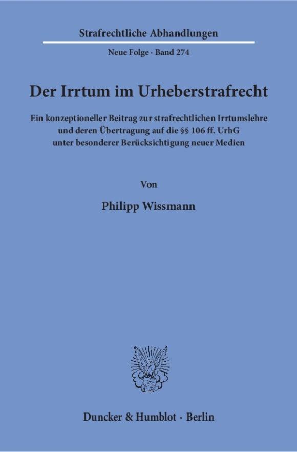 Cover Der Irrtum im Urheberstrafrecht