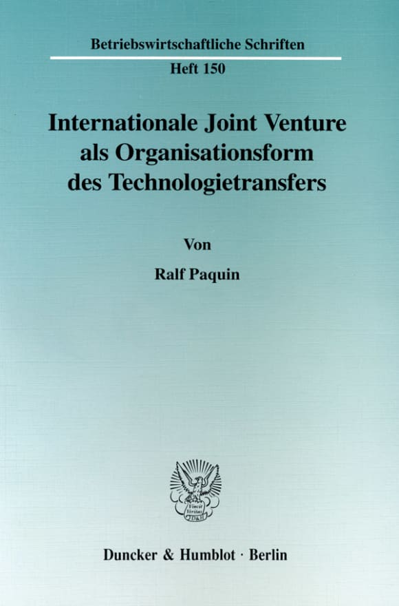 Cover Internationale Joint Venture als Organisationsform des Technologietransfers