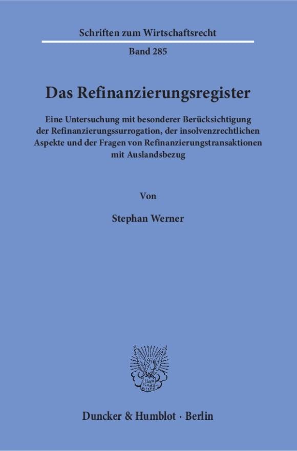Cover Das Refinanzierungsregister