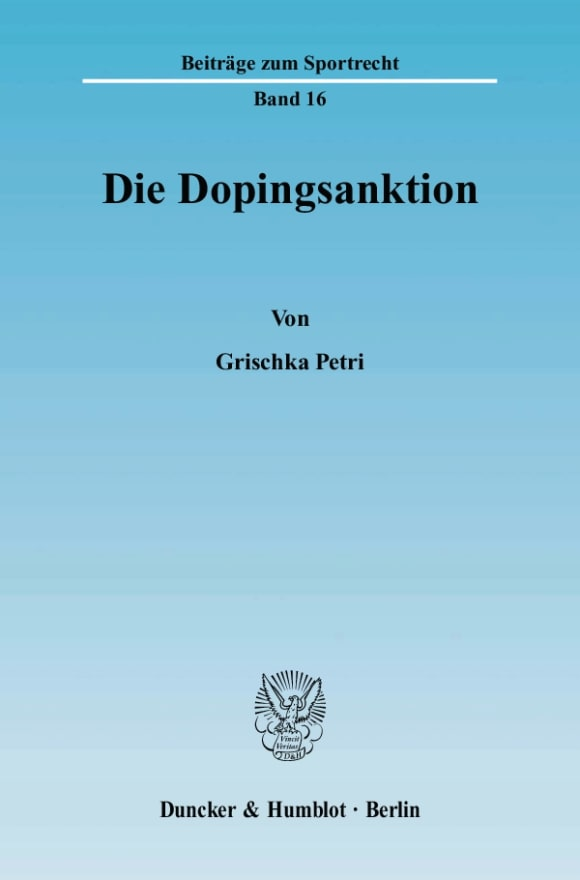 Cover Die Dopingsanktion