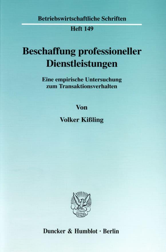 Cover Beschaffung professioneller Dienstleistungen
