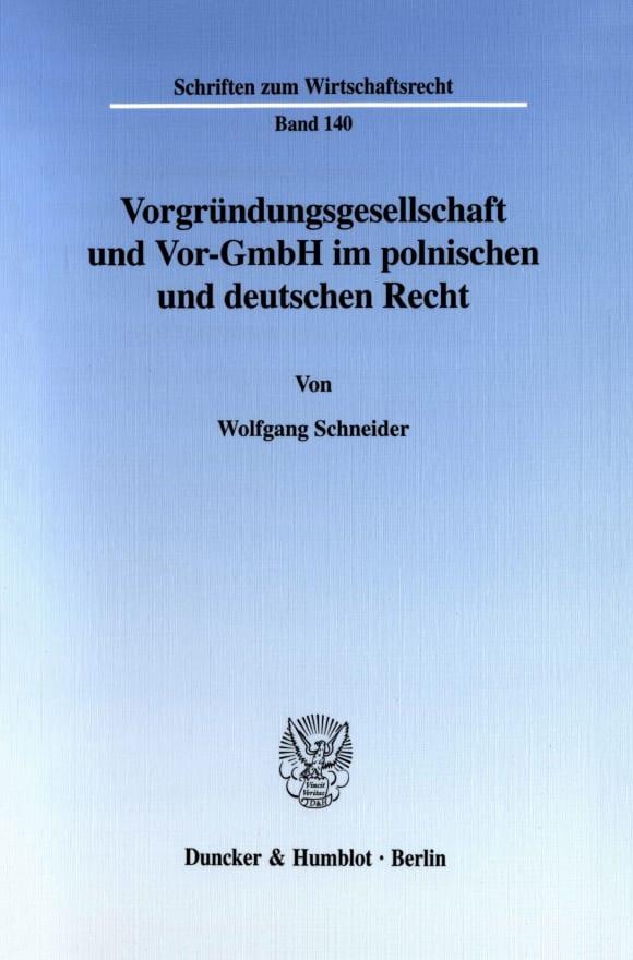Cover Vorgründungsgesellschaft und Vor-GmbH im polnischen und deutschen Recht