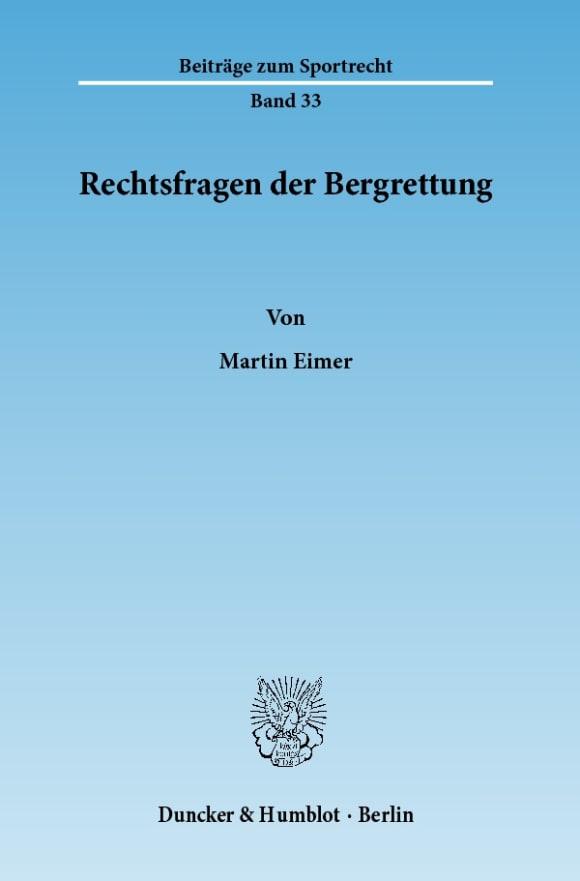 Cover Rechtsfragen der Bergrettung