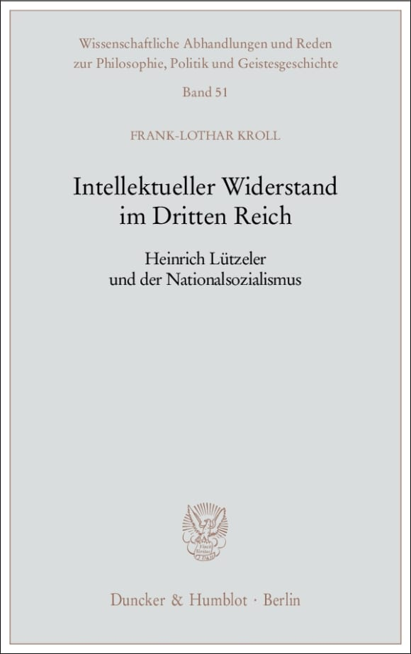 Cover Intellektueller Widerstand im Dritten Reich