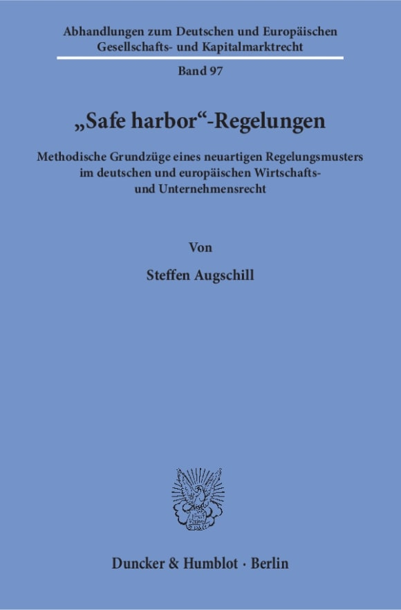 Cover »Safe harbor«-Regelungen