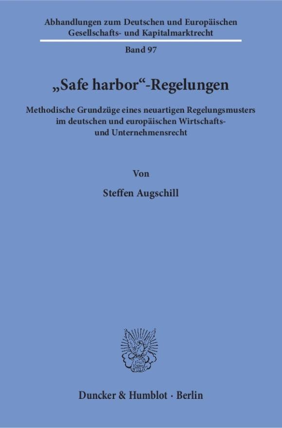 Cover »Safe harbor«-Regelungen