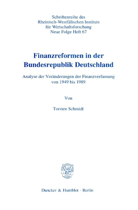 Cover Finanzreformen in der Bundesrepublik Deutschland