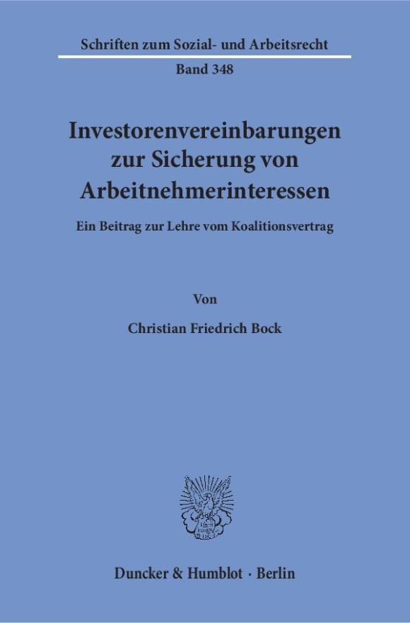 Cover Investorenvereinbarungen zur Sicherung von Arbeitnehmerinteressen