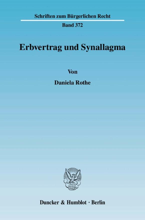 Cover Erbvertrag und Synallagma