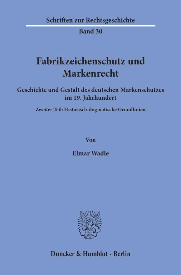 Cover Fabrikzeichenschutz und Markenrecht