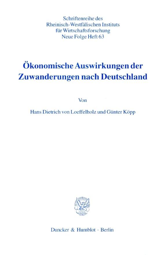 Cover Ökonomische Auswirkungen der Zuwanderungen nach Deutschland