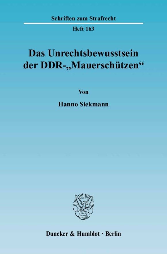 Cover Das Unrechtsbewusstsein der DDR-