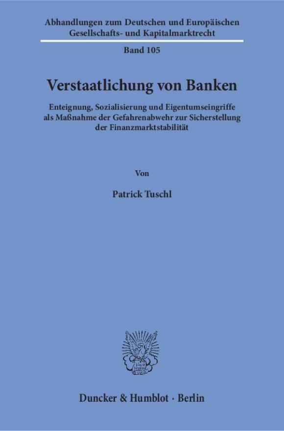 Cover Verstaatlichung von Banken