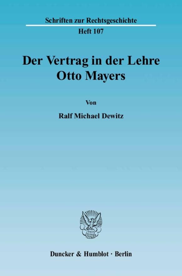 Cover Der Vertrag in der Lehre Otto Mayers