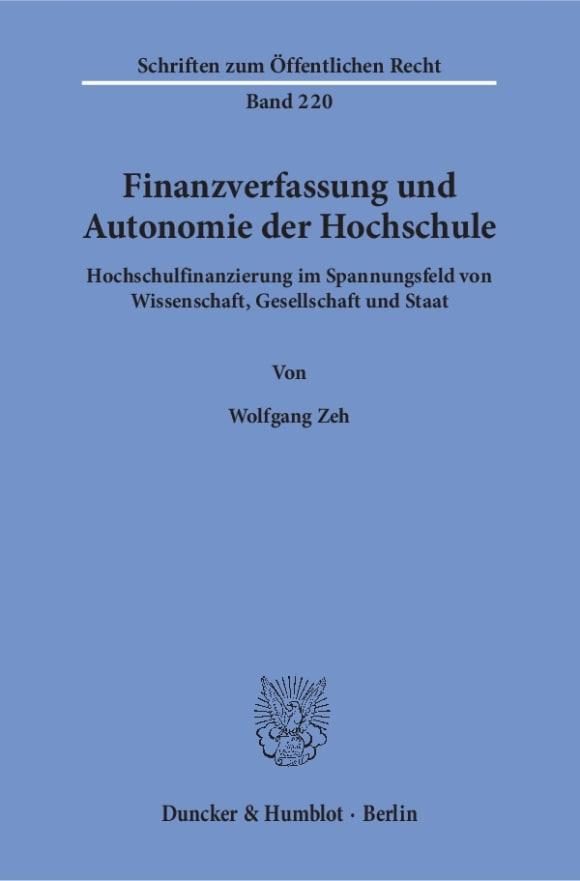 Cover Finanzverfassung und Autonomie der Hochschule