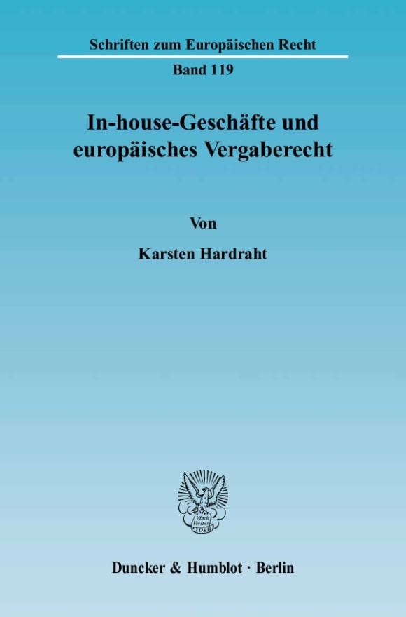 Cover In-house-Geschäfte und europäisches Vergaberecht