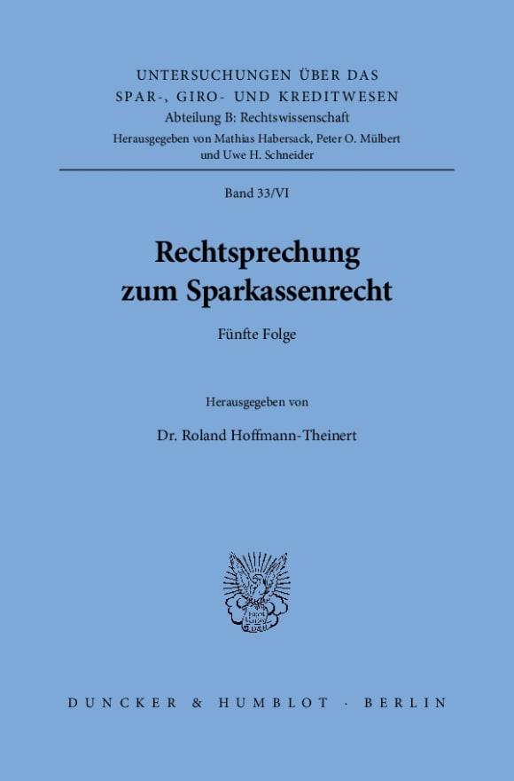 Cover Rechtsprechung zum Sparkassenrecht