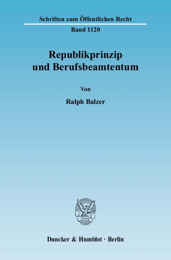 Cover Republikprinzip und Berufsbeamtentum