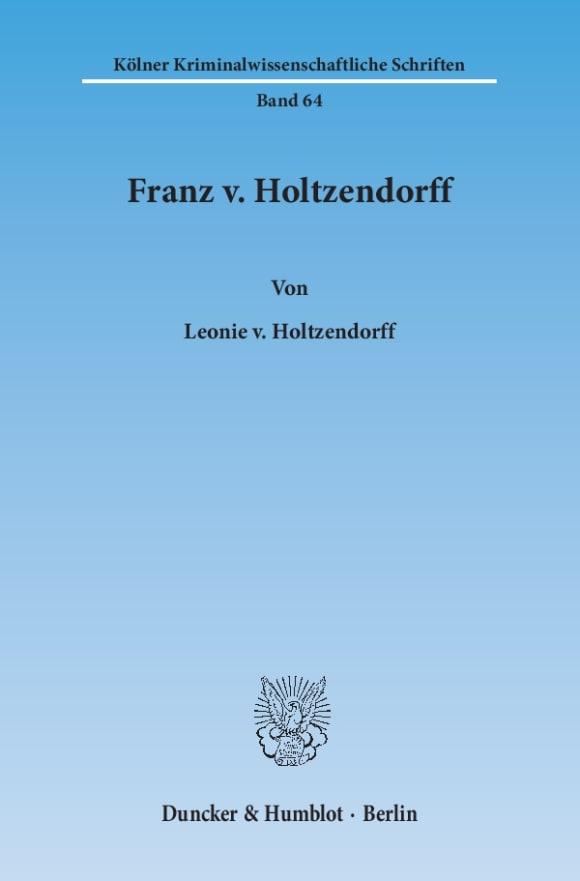 Cover Franz v. Holtzendorff