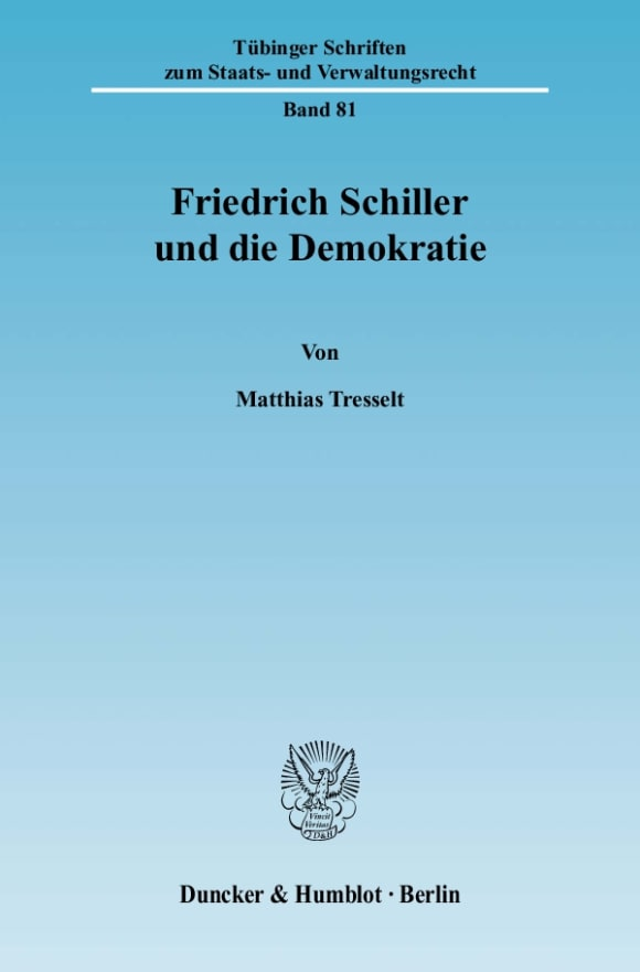 Cover Friedrich Schiller und die Demokratie