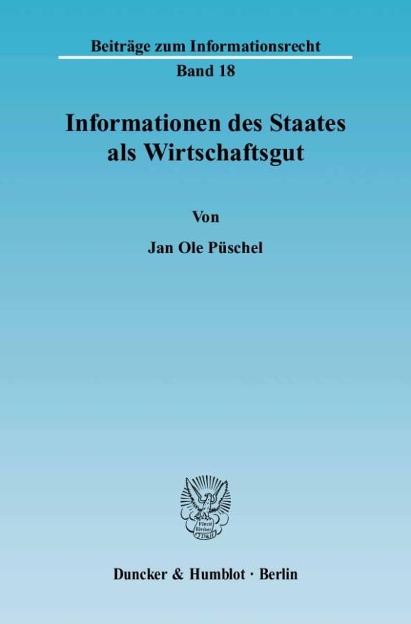Cover Informationen des Staates als Wirtschaftsgut