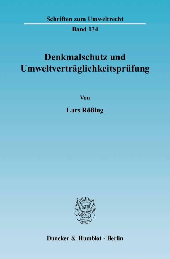 Cover Denkmalschutz und Umweltverträglichkeitsprüfung