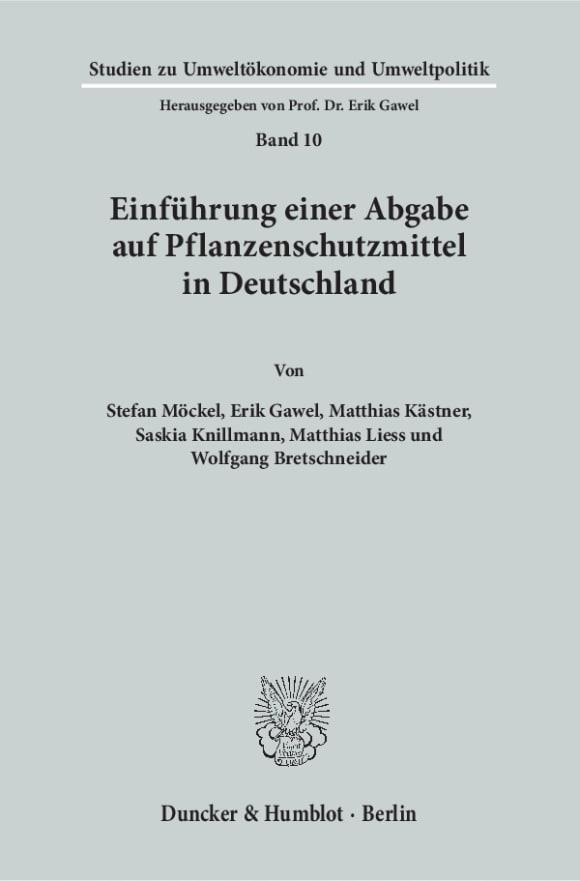 Cover Einführung einer Abgabe auf Pflanzenschutzmittel in Deutschland