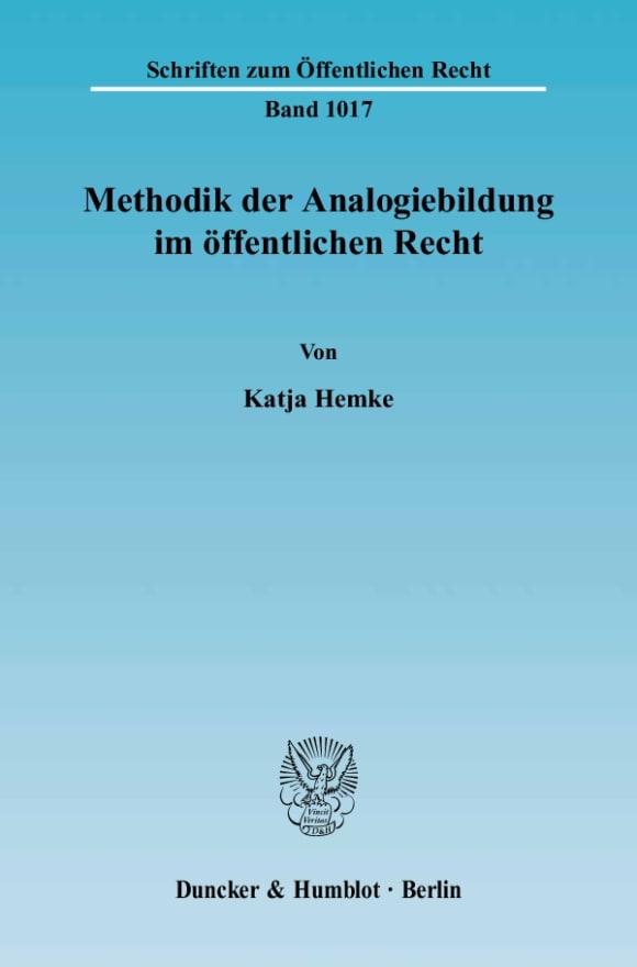 Cover Methodik der Analogiebildung im öffentlichen Recht