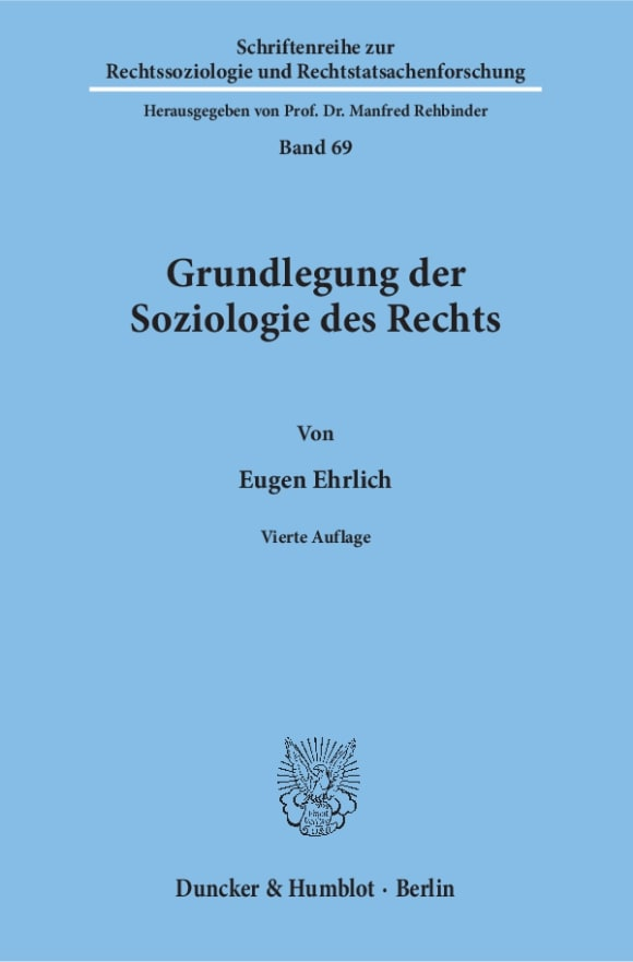 Cover Grundlegung der Soziologie des Rechts