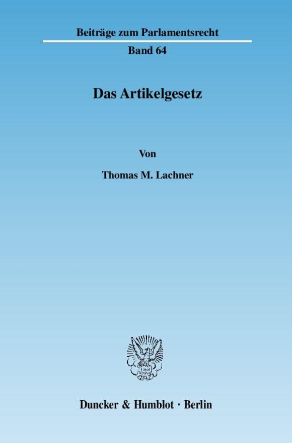 Cover Das Artikelgesetz