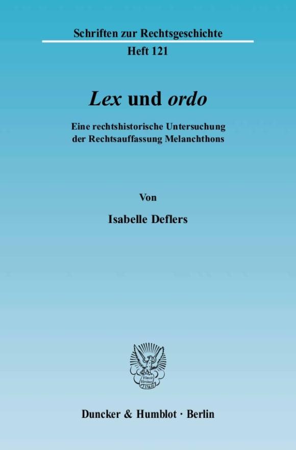 Cover »Lex« und »ordo«