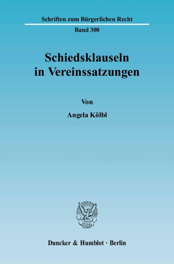Cover Schiedsklauseln in Vereinssatzungen