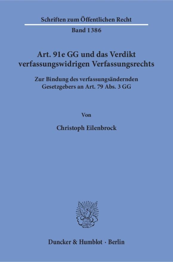 Cover Art. 91e GG und das Verdikt verfassungswidrigen Verfassungsrechts
