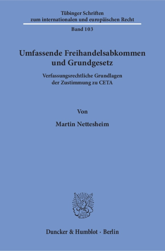 Cover Umfassende Freihandelsabkommen und Grundgesetz