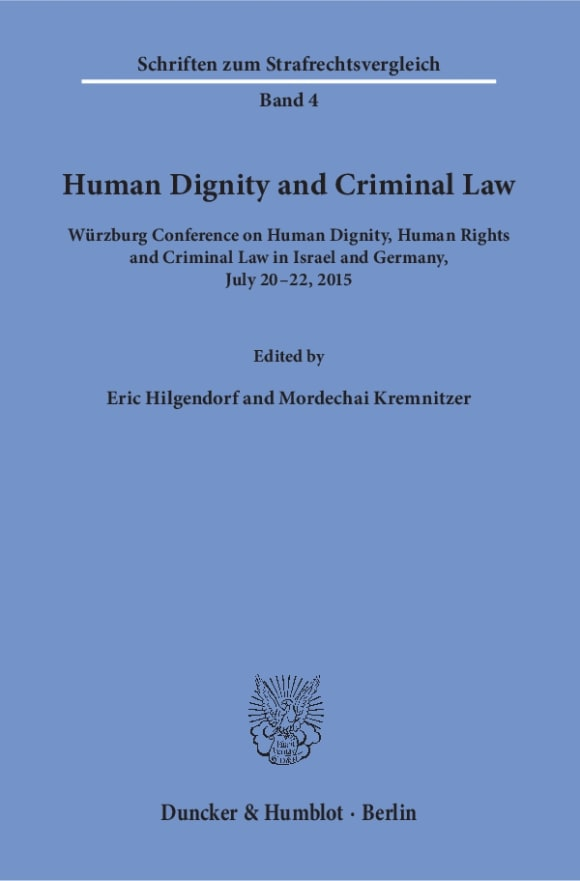Cover Human Dignity and Criminal Law