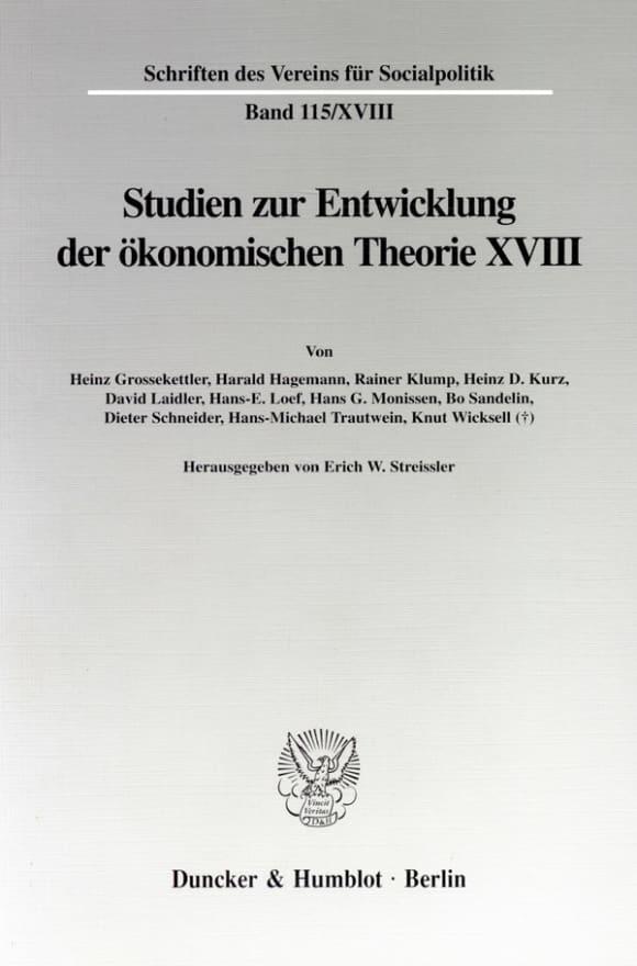Cover Knut Wicksell als Ökonom