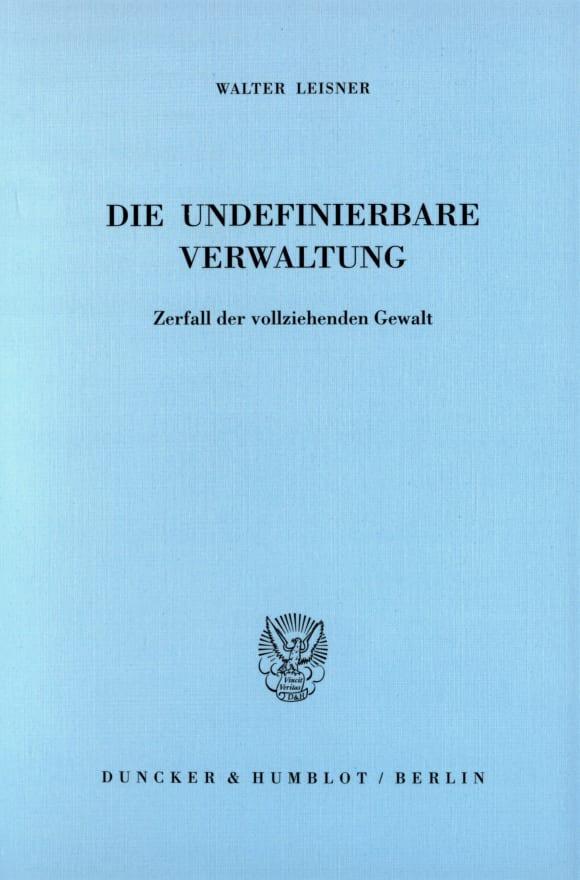 Cover Die undefinierbare Verwaltung