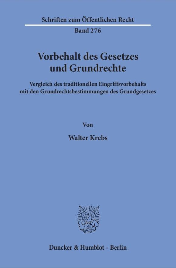 Cover Vorbehalt des Gesetzes und Grundrechte