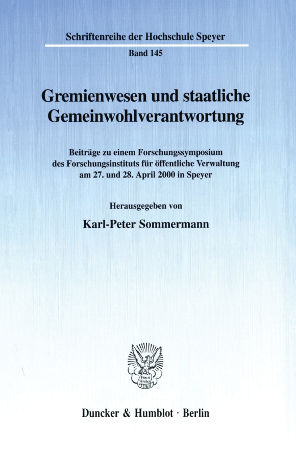 Cover Gremienwesen und staatliche Gemeinwohlverantwortung