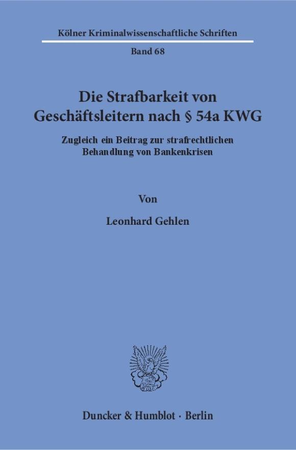 Cover Die Strafbarkeit von Geschäftsleitern nach § 54a KWG