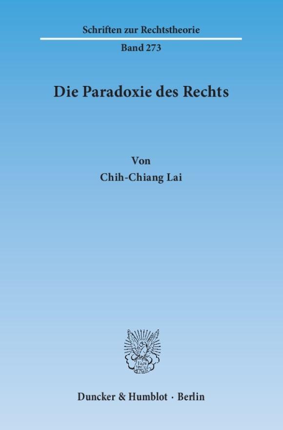 Cover Die Paradoxie des Rechts