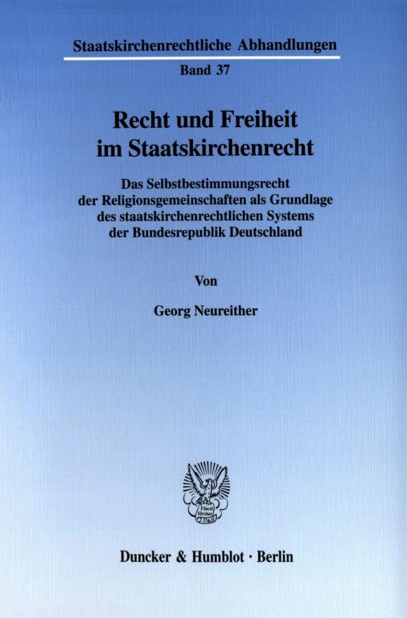 Cover Recht und Freiheit im Staatskirchenrecht