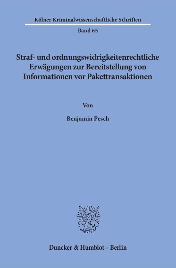 Cover Straf- und ordnungswidrigkeitenrechtliche Erwägungen zur Bereitstellung von Informationen vor Pakettransaktionen