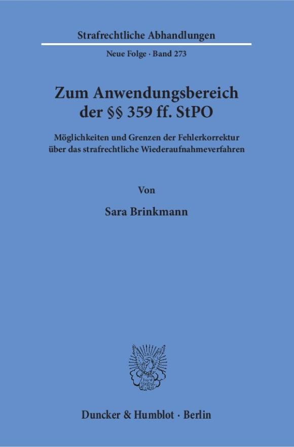 Cover Zum Anwendungsbereich der §§ 359 ff. StPO