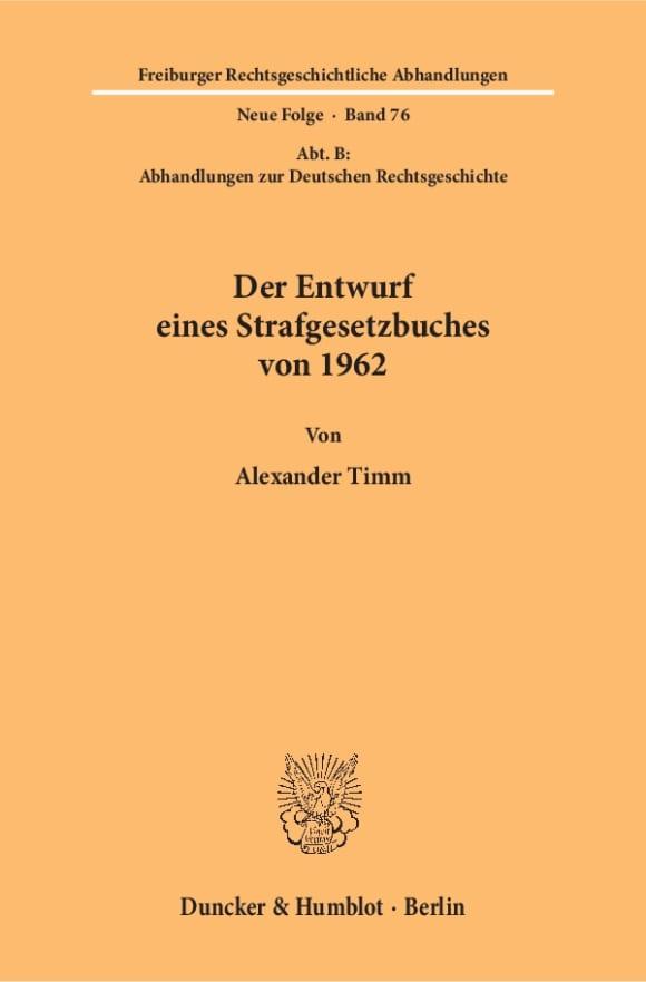 Cover Der Entwurf eines Strafgesetzbuches von 1962